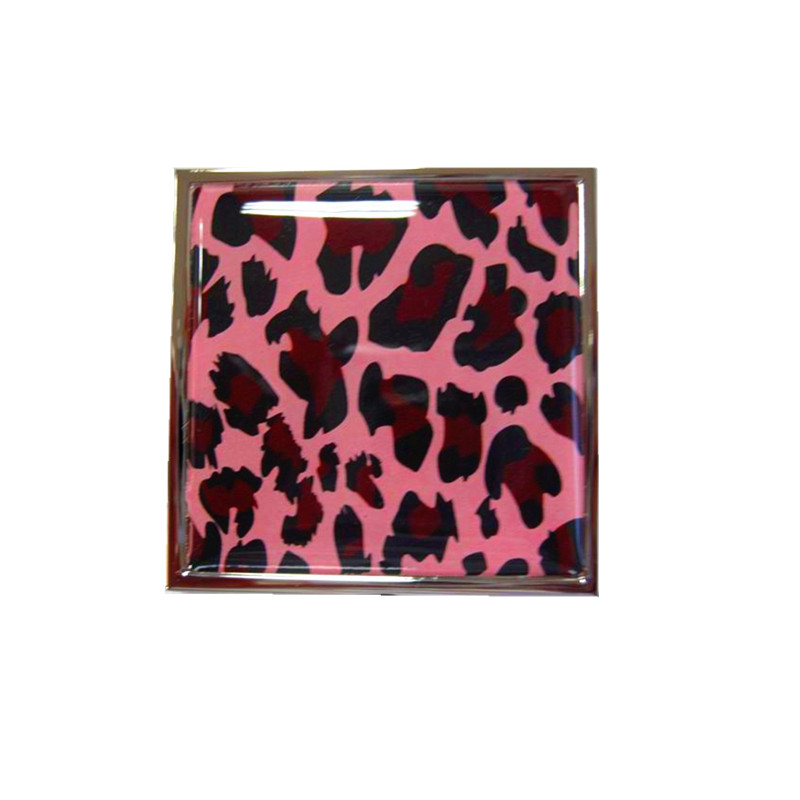 custom leopard pattern compact mirror with epoxy resin sticker for makeup in purse