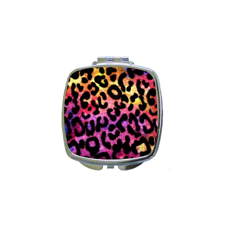 Artificial zebra design compact mirror with magnification for handbag