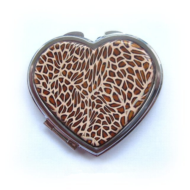 glitter zebra compact mirror for zoo animal protective souvenir