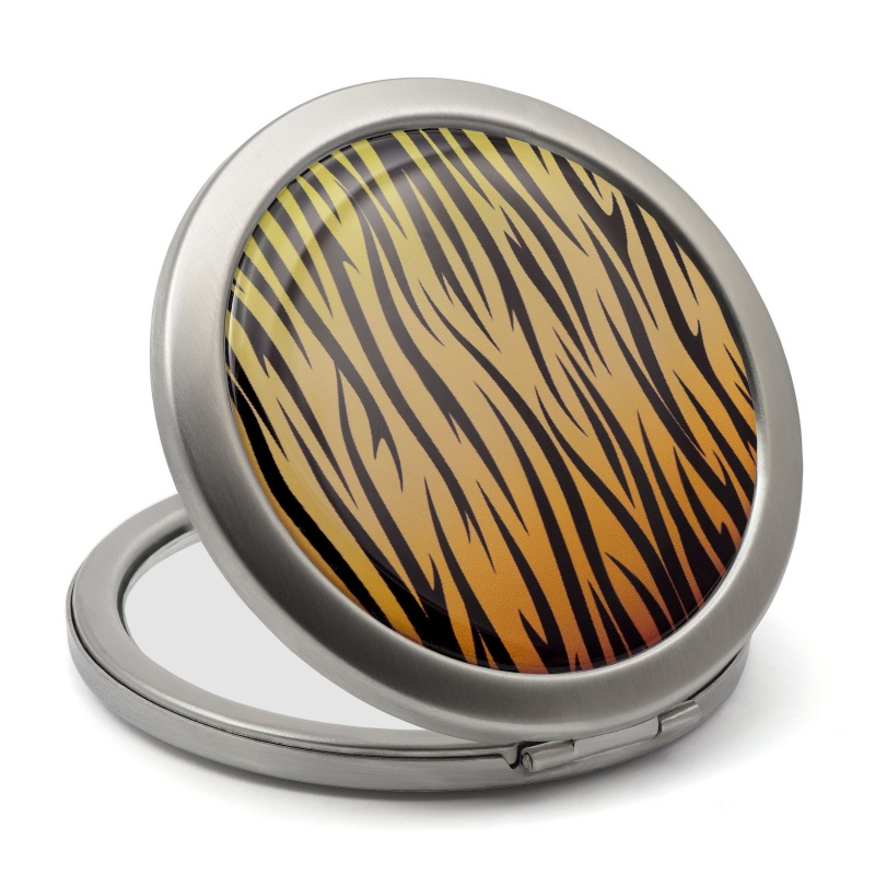 ladies makeup mirror with yellow and balck tiger design epoxy resin label