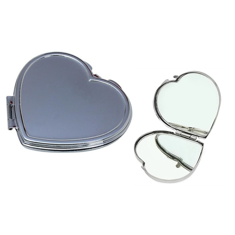 heart shaped compact mirror with custom made engraved logo design for nearsight makeup