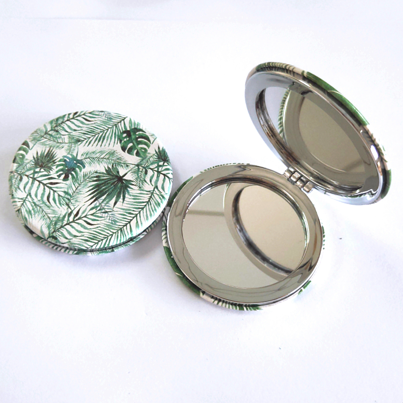 PU Makeup Mirror with colors printings personalization Pocket Mirror for weddings gifts