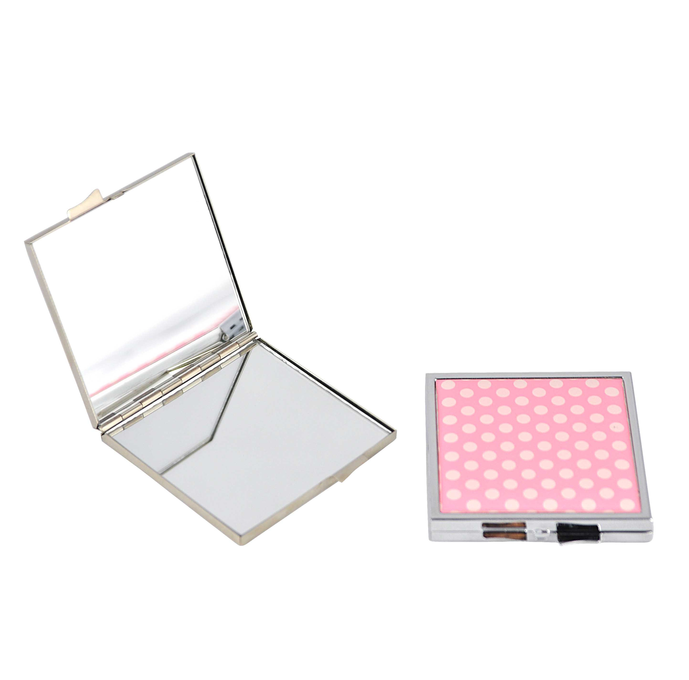 square shaped makeup mirror with printed logo gift for friend