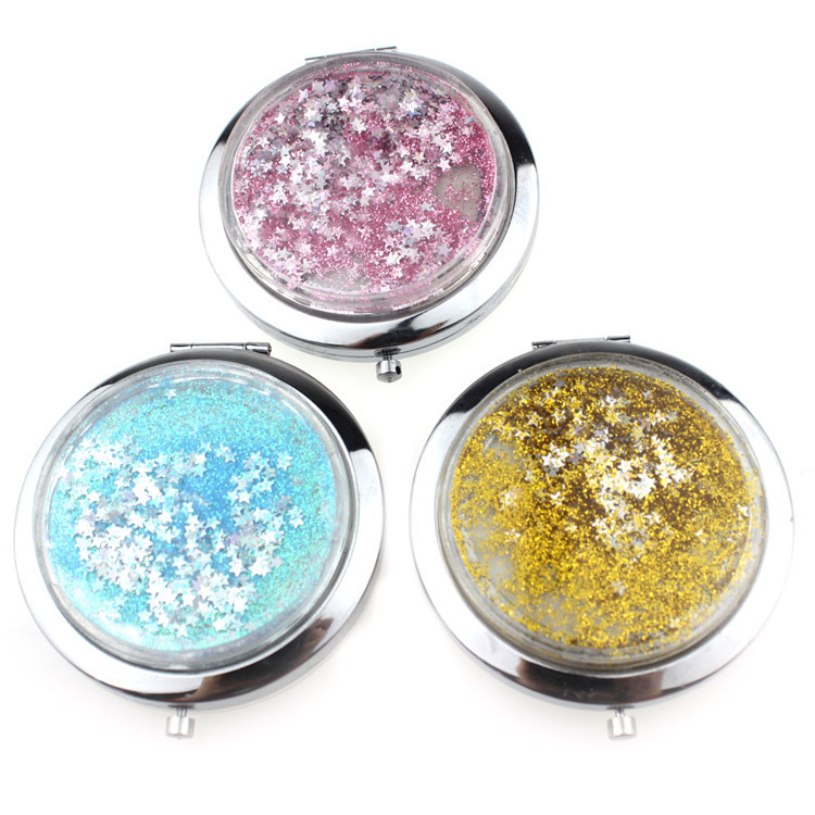 floating glitter makeup mirror with logo for disney gifts