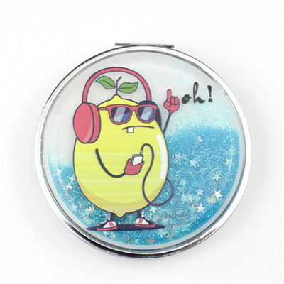 printed floating glitter pocket mirror with logo luxury gift for women