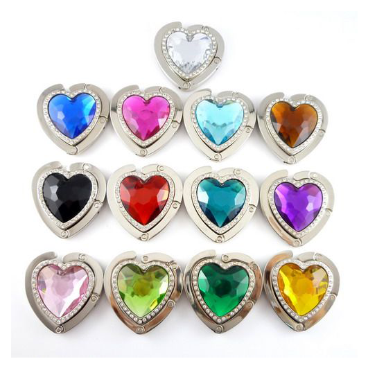 rhinestones heart shaped glass crystal purse hanger in coffee shop