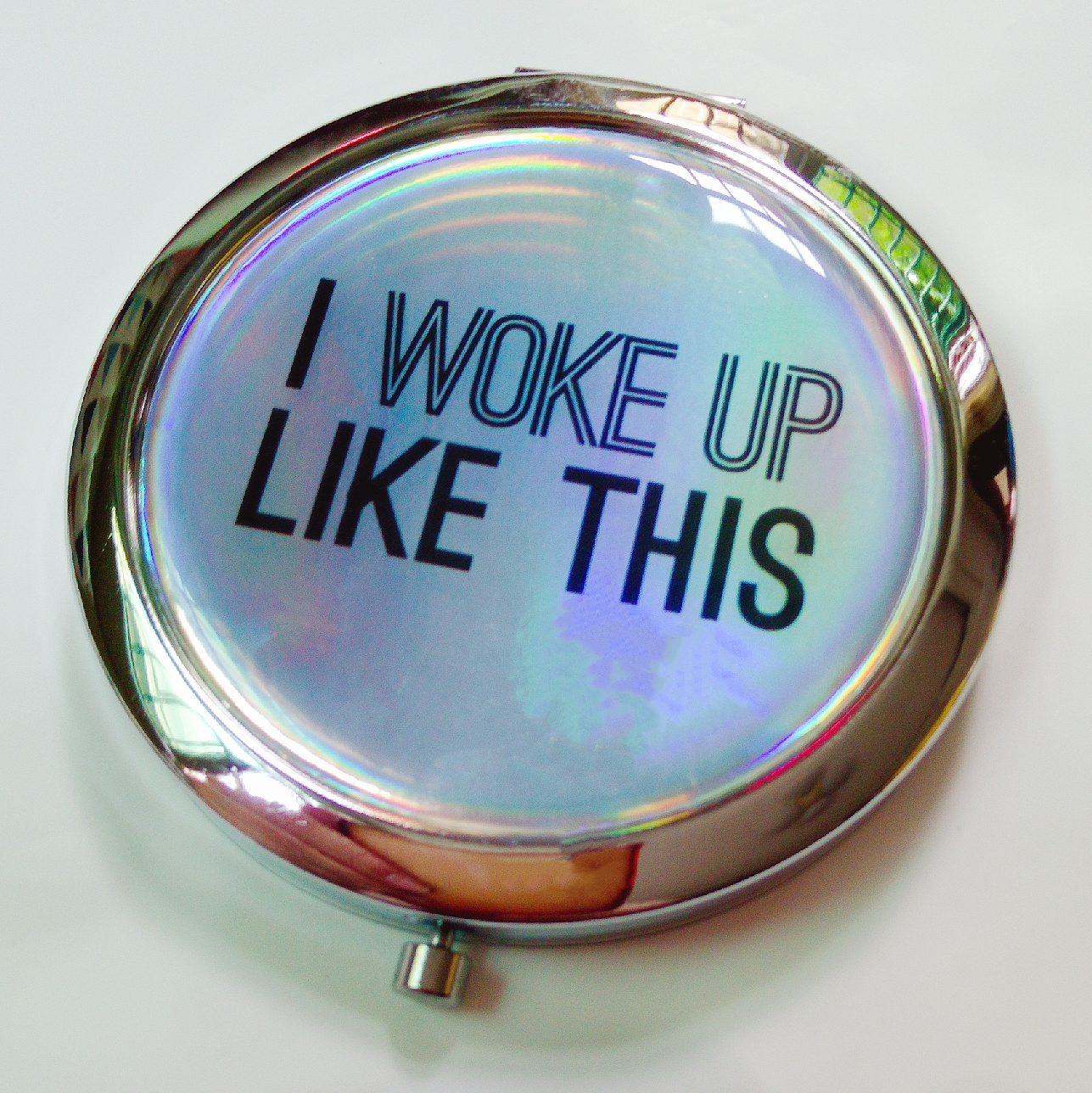 laser effect compact mirror with personalized logo for purse