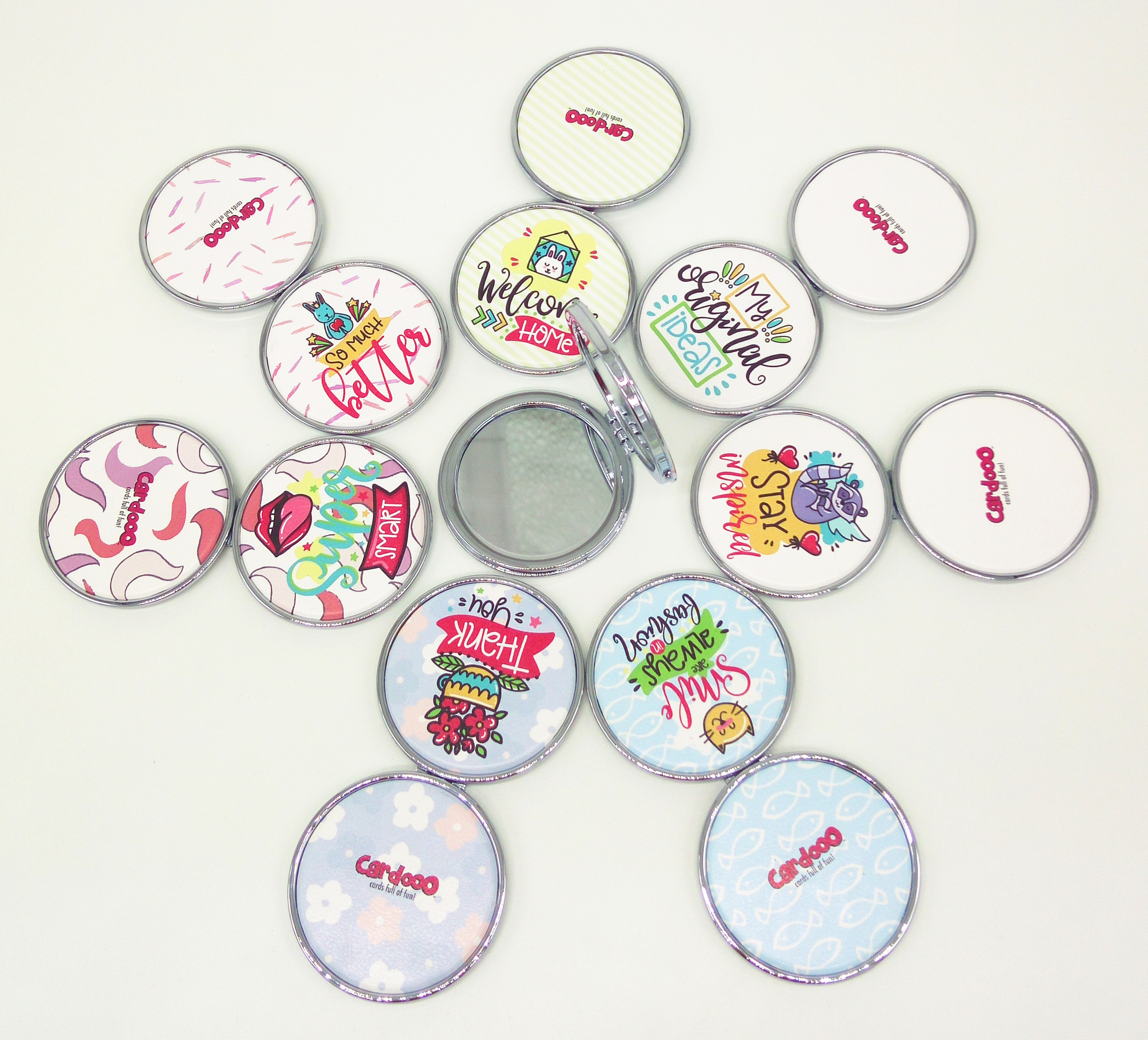 perfect compact mirror for gift bags with button clip for easy opening