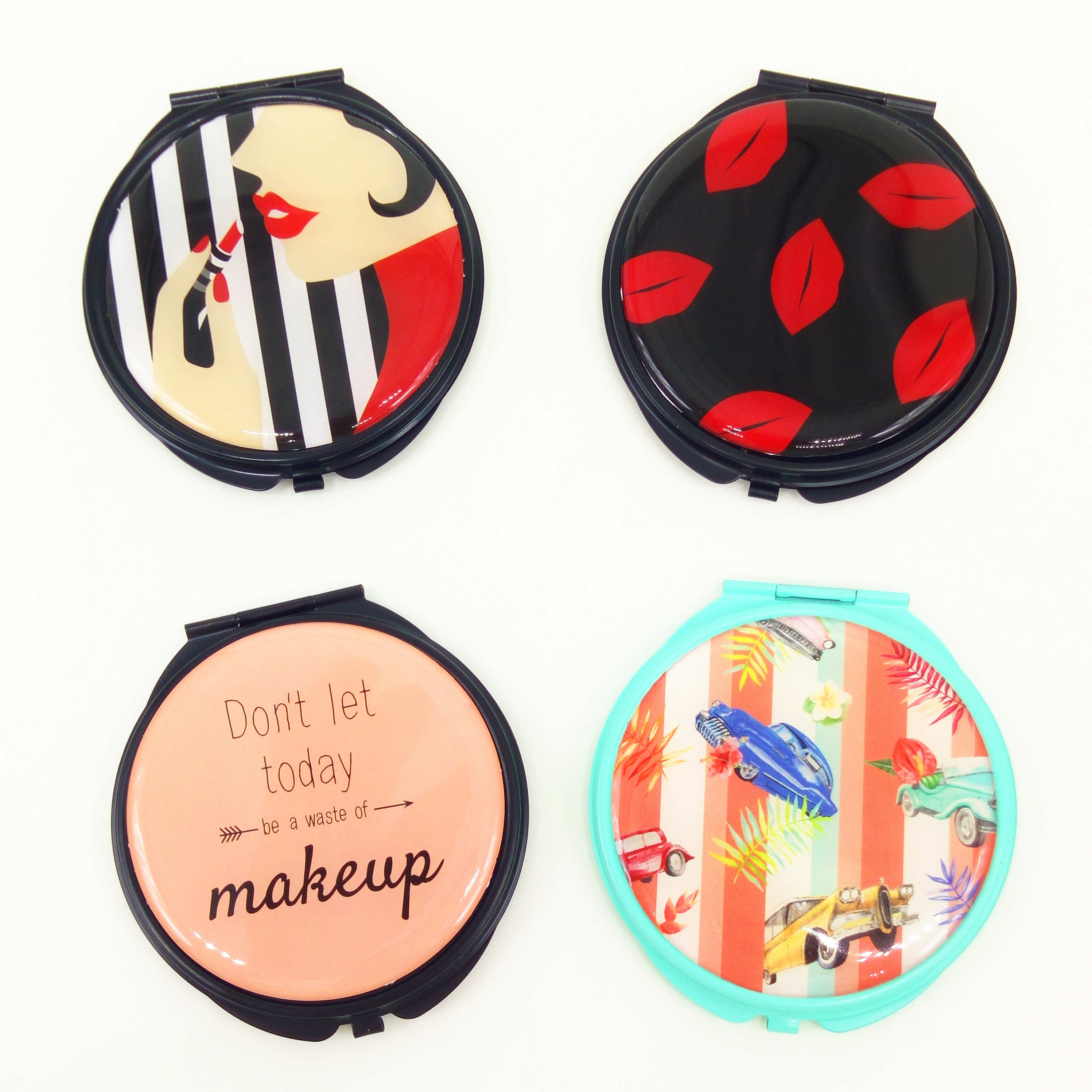 custom design big kiss compact mirror for nearsight makeup