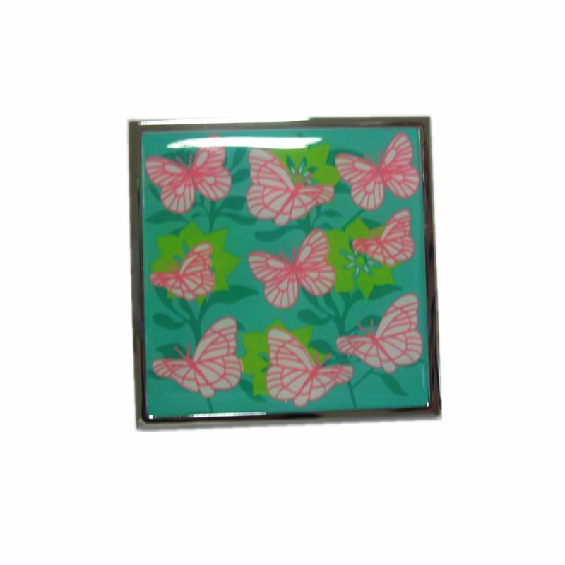 flower and butterfly design compact mirror with epoxy resin sticker for makeup in purse