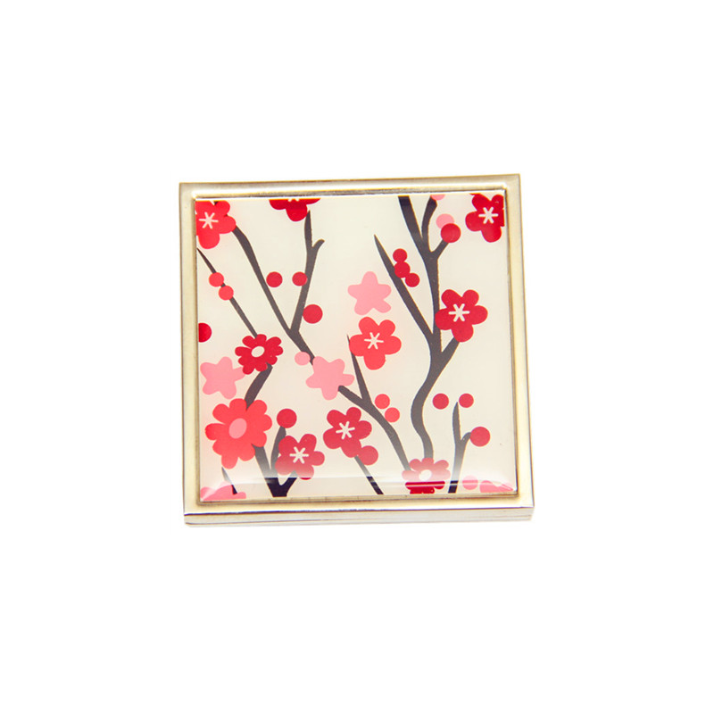 Plum blossom design compact mirror with epoxy resin sticker for near me makeup in handbag