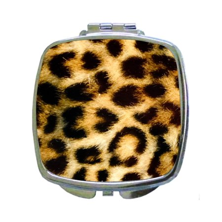 Artificial animal fur design compact mirror with magnification for purse