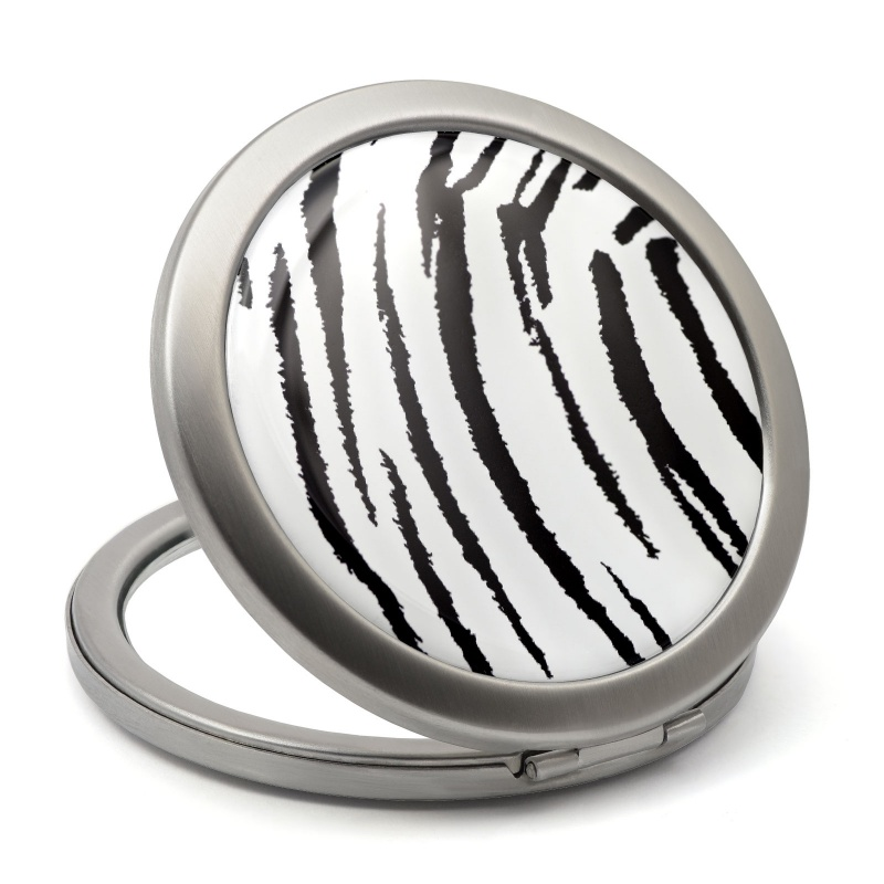 ladies makeup mirror with white and balck zebra drawing epoxy resin finished