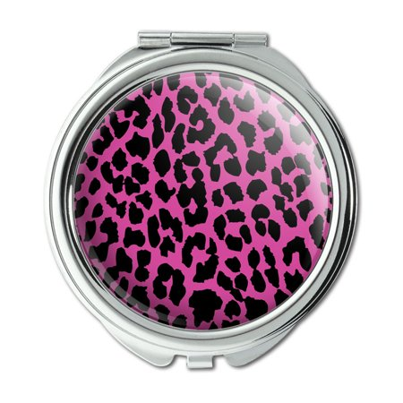 female portable compact mirror with purple and balck leopard drawing epoxy resin easy open Snap button