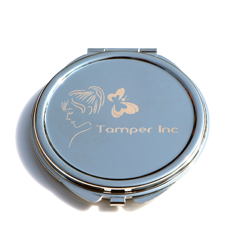 squared compact mirror with custom logo diy engraved icon on metal lid