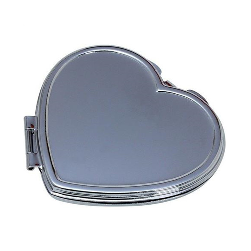 plain heart compact mirror with custom made engraved design for nearsight makeup