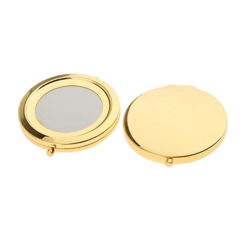 24K gold plated compact mirror for custom design epoxy resin and PU leather decorative