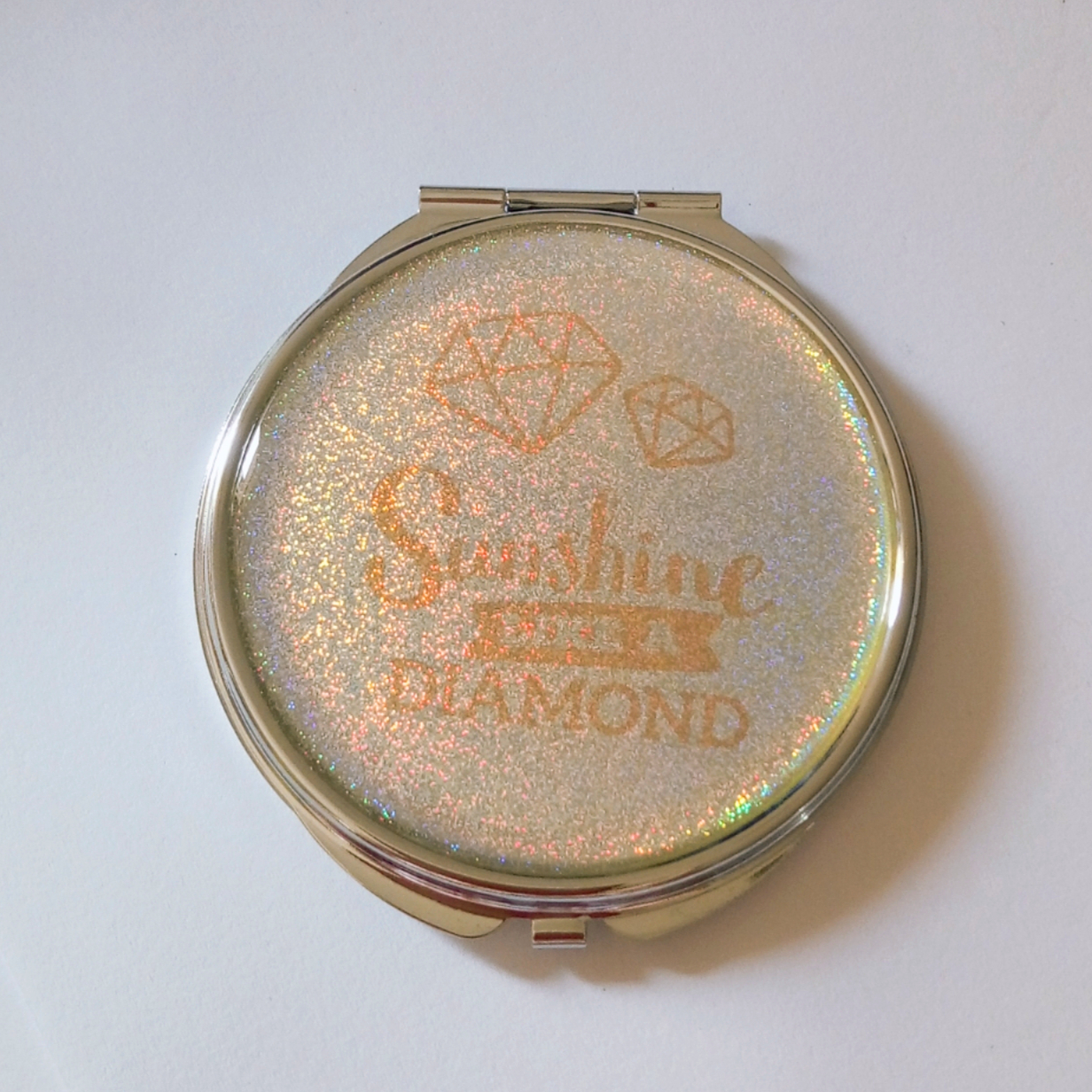 chrome plated compact mirror with laser color effect for poorsight makeup