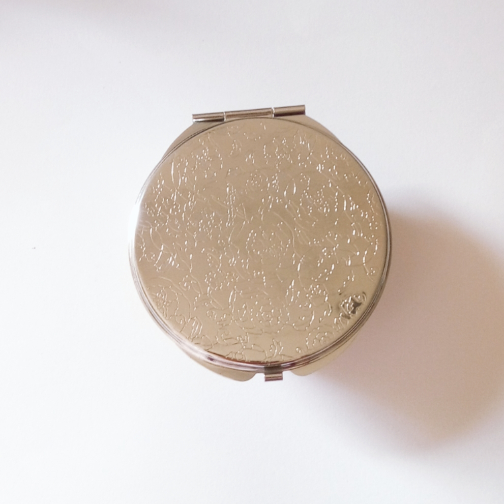 gold stamped compact mirror with glitter custom logo of beauty accessories