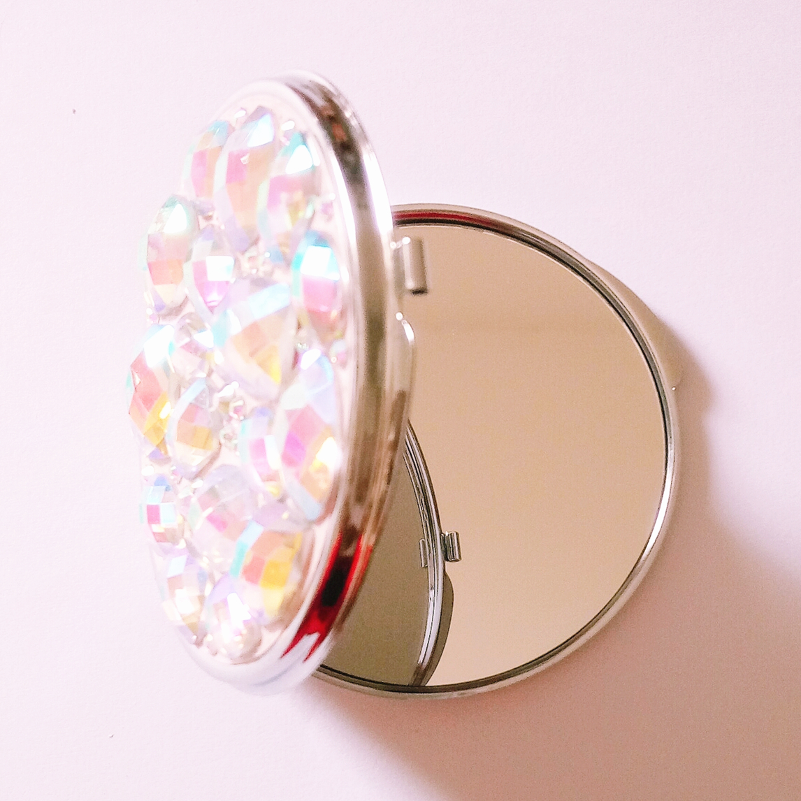 Mother of Pearl Crystal Design Compact Mirror Cosmetic Makeup Handbag Purse Pouch Pocket Portable Hand Handheld Round Mirror