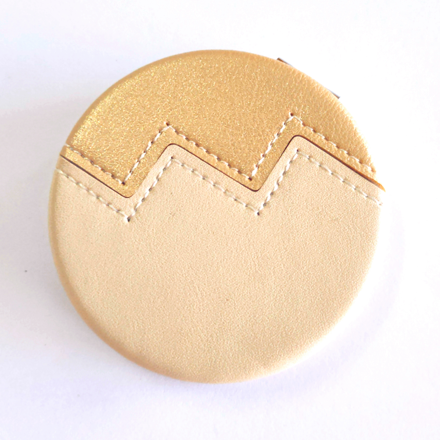Sewing PU Makeup Mirror personalization Pocket Mirror in hand luggage