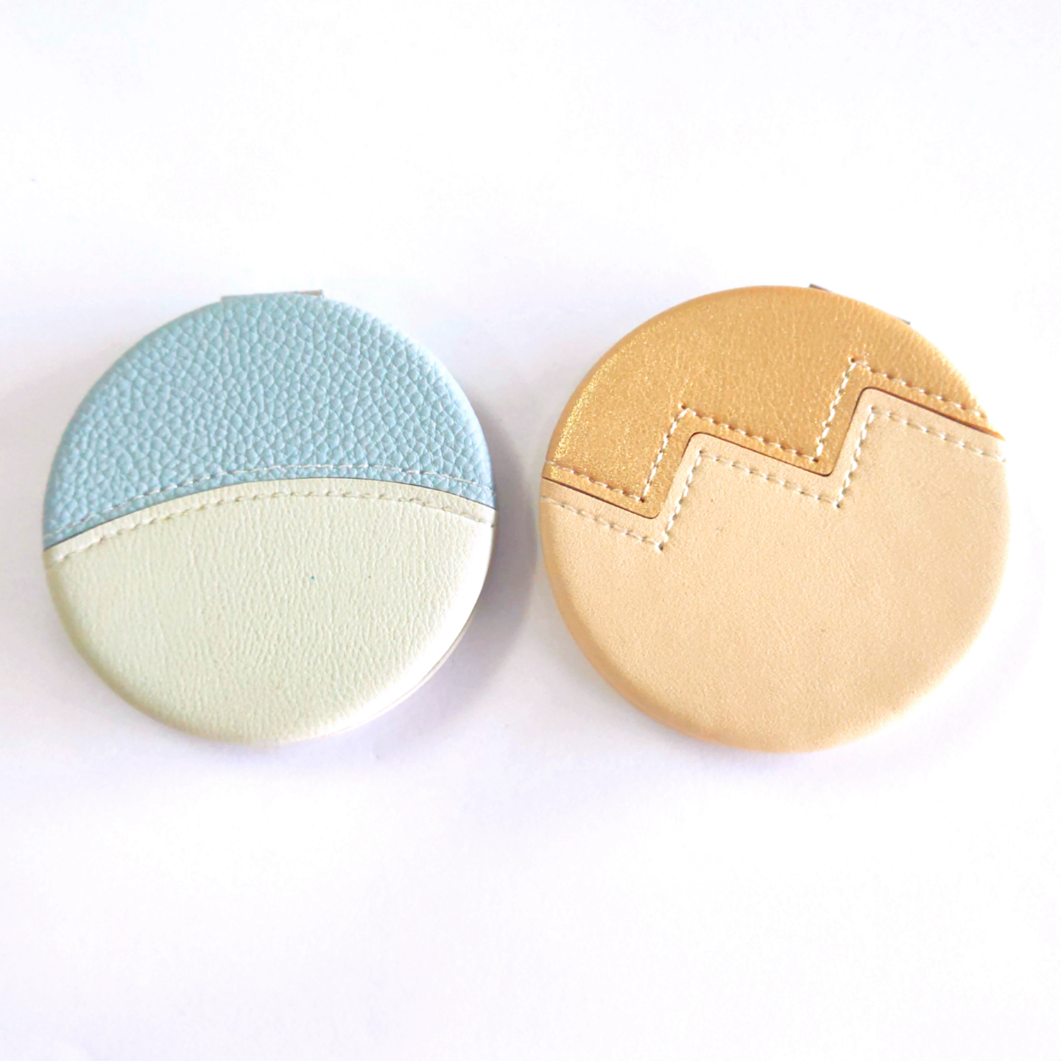 Sewing PU compact Mirror with logo personalization Pocket Mirror in hand luggage