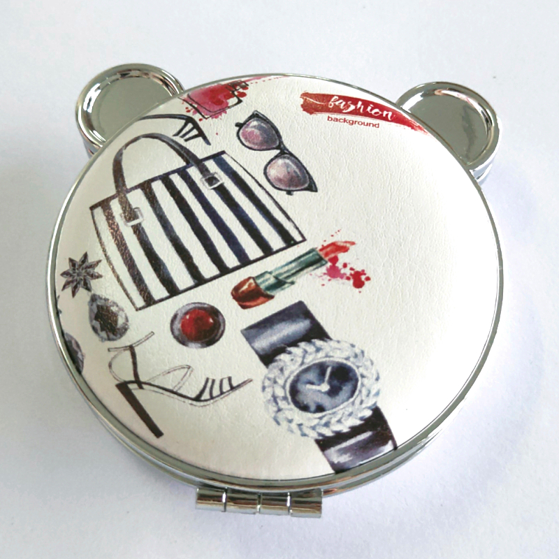 compact Mirror in Mickey shaped with engraved logo cosmetics Mirror with 2X magnifying