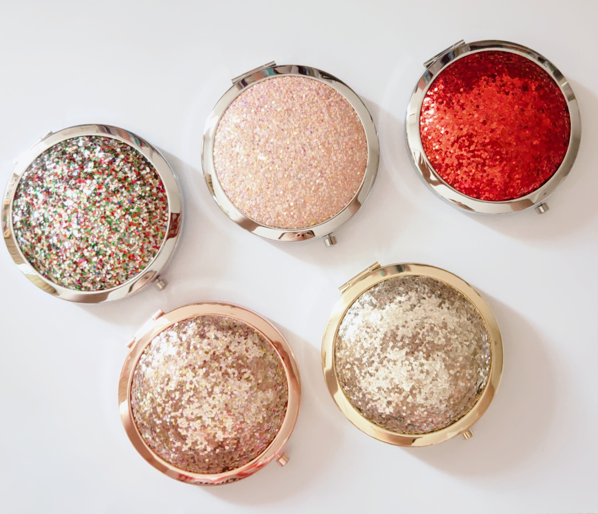 Round shaped Diamante Compact Mirror Bling Glitter Pocket Cosmetic Mirror